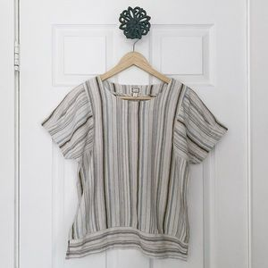 Anthropologie Mo Vint Linen Striped Top Sz Small